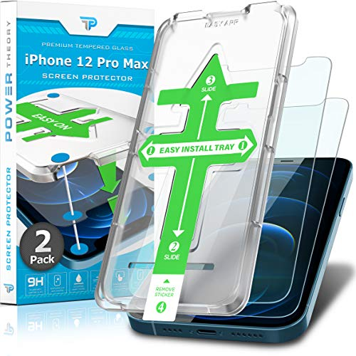 Power Theory Screen Protector for iPhone 12 Pro Max [2-Pack] with Easy Install Kit [Premium Tempered Glass]