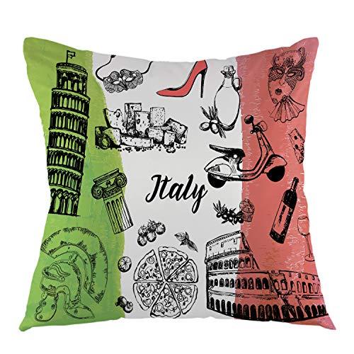 oFloral - Funda de cojín con diseño de Italia para sofá, Coche, Dormitorio, Sala de Estar, 45,7 x 45,7 cm, Color Negro, Verde, Rojo y Blanco