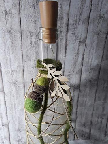 Flasche Makramee gefilzte Eicheln beleuchteter Korken