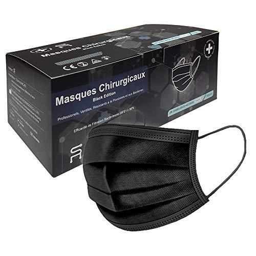 5RMED 50 Schwarze Chirurgische Op Masken [Black Edition] - EN14683 TYP IIR CE Schwarze chirurgische Einwegmasken Medizinisch Masken Mundschutz
