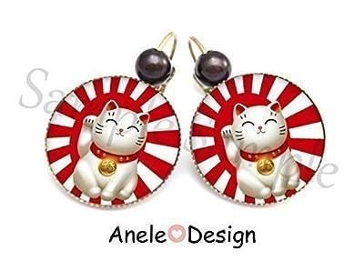 Boucles d'oreille Chat Porte Bonheur japonais Maneki Neko
