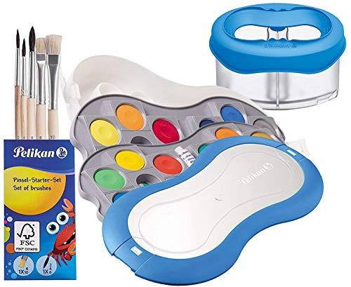 Pelikan Deckfarbkasten 735 SP/24 mit 24 Farben und 1 Tube Deckweiß (Starter blau mit Space-Wasserbecher + Pinsel-Set)