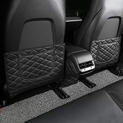 CVERY Anti-Kick-Matte 3-teilig Innenrücksitz PU-Leder Auto-Styling mit Aufbewahrungstasche Abdeckung Zubehör Schutzpolster Kinder für Tesla Model 3(Schwarzer Draht)