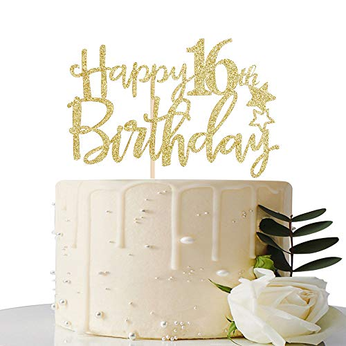 Marvelous Maicaiffe Gold Glitter Happy 16Th Birthday Cake Topper Hello 16 Funny Birthday Cards Online Necthendildamsfinfo