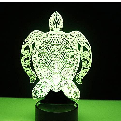 Eld Tortuga de luz de Noche LED 3D con luz de 7 Colores para la lámpara de decoración del hogar Visualización increíble Ilusión óptica Regalo del día de los niños Impresionante