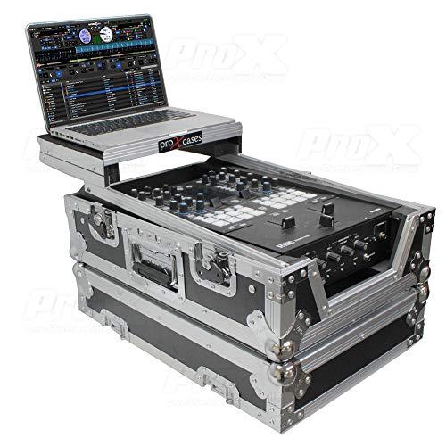 Prox XS-RANE72LT 11' ATA-300 Style Gig Ready Flight/Road Case with Laptop Shelf for Rane Seventy-Two DJ Mixer, Silver on Black