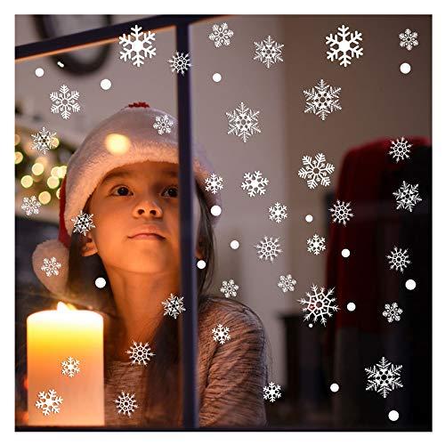 Halcyerdu 228 Stück Weihnachten Schneeflocken Fensterbild, Selbstklebend Weihnachten Fenstersticker, Wiederverwendbare winterliche Fensterbilder