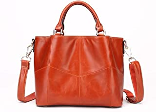 Handbags-Simple Temperament Oil Wax Bucket Bag Handbag, Shoulder Bag Crossbody Bag, Leather, Large Capacity, 27 * 13 * 21 Cm Shining (Color : Orange)