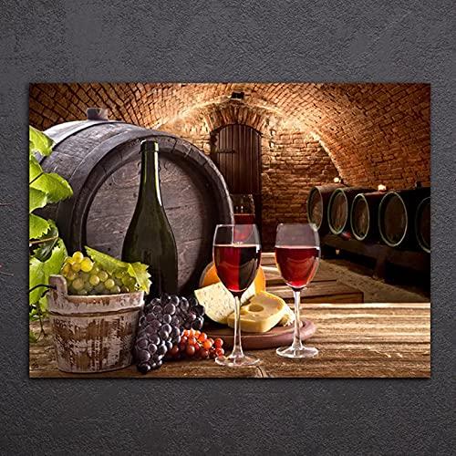 WYHAW Barrica de Roble y Lienzo de Vino Pintura al óleo Pinturas Decorativas Decoración Cuadros de Pared de salón para Sala de Estar Cocina -60x80cm