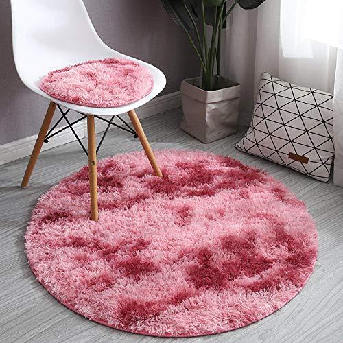 Fnho Soft Gradient Tie-Dye Fur Rug,Nursery Rug Home Room Plush,Round long hair dyeing carpet, hanging basket floor mat-dark red_Diameter 140cm