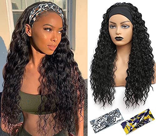Headband Wig - Synthetic Headband Wigs for Black Women Glueless Half Wig 180% Density Wigs with Headbands Attached Natural for Daily Use (24 Inch water wave, 1B)