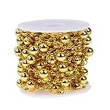 Demiawaking 10m/Rolle runde Perlen Kette Hochzeit Party hausgarten Dekor DIY Handwerk (Gold)