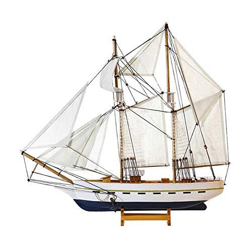ZMING Amerikanische Holz Simulation Segelboot Modell Dekoration, Massivholz Handwerk Boot Geschenkauswahl, 20-Zoll-Hauptdekorationen (Farbe: Weiß)