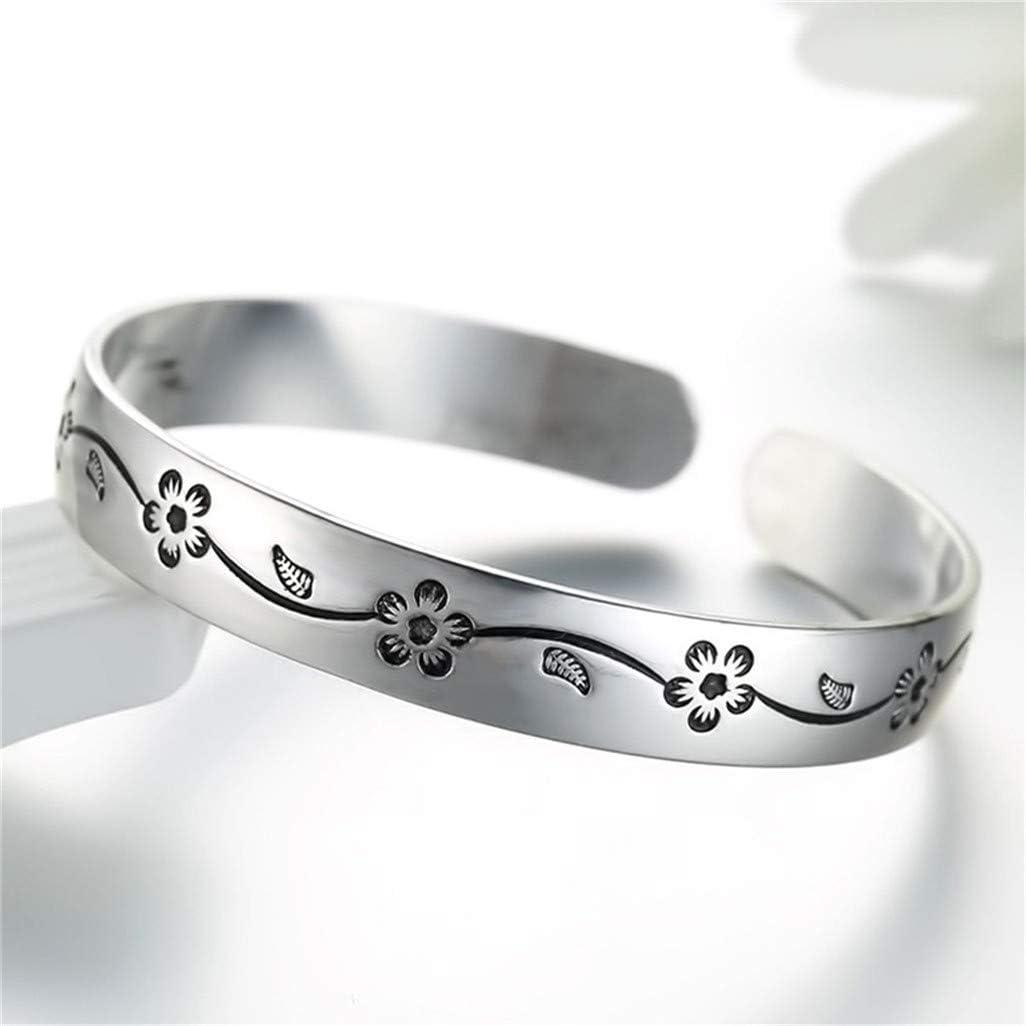 WEILYDF Plum Bracelet Simple Classic Carved Flower Pattern Bangle Retro Metal Bracelet Opening Cuff Bracelet