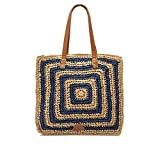 MTNG PALMIS, Shopper para Mujer, Azul (Rafia Natural/Azul), 12x36x39 cm (W x H x L)