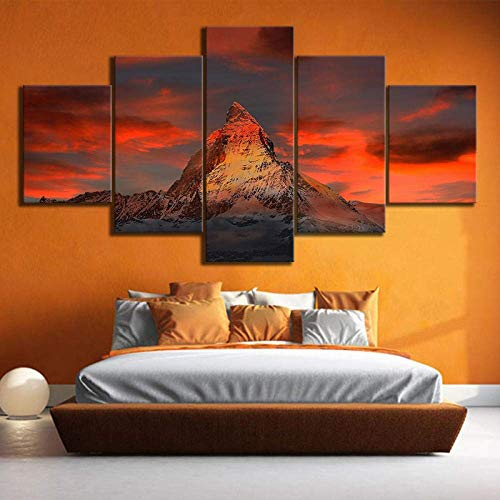 QYY Prints On Canvas Home Decor Canvas Painting Pictures 5 Panel Zermatt Matterhorn Landscape Wall Art Prints Modular Poster Kids Room
