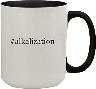 #alkalization - 15oz Hashtag Colored Inner & Handle Ceramic Coffee Mug, Black