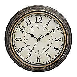 12 Inch Modern Wall Clock Silent Non Ticking Easy to Read Decorative Wall Clocks for Living Room Decor Home Office Kitchen (Vintage Copper)
