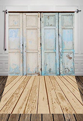 Hua 5x 7ft telón de fondo de seda color azul puerta de madera telón de fondo Fotografía de fondo para niños d-7507