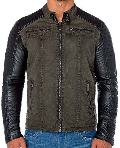 Red Bridge Jacke Herren Biker Kunstleder Lederjacke Redbridge Jacket mit gesteppten Bereichen (XL, Khaki) - 4