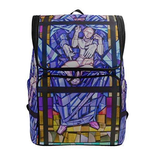 Rose Window At Notre Dame Cathedral Men Backpack Sport Bag Kids Best School Bags Sports Bag Fits 15.6 Inch Laptop And Notebook Traveling Daypack Womens Casual Work Bag