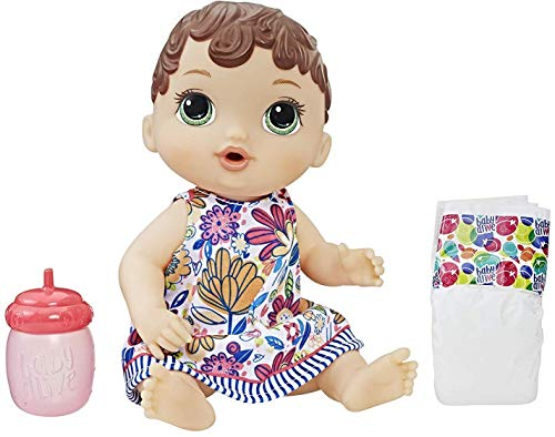 Baby Alive Lil' Sips Baby Brown Hair Doll That Drinks & Wets, with Diaper & Bottle, for Kids Ages 3 Years Old & Up