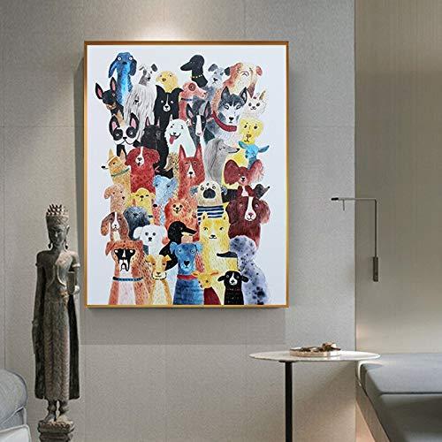 Wfmhra Cuadro con Estampado de HD, decoración Familiar para Perros, póster de Lienzo de Gato, Imagen de Animal, Dibujos Animados, Arte nórdico Moderno para Sala de Estar, 50x75cm sin Marco