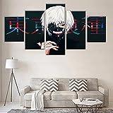 HAOQIPA Cuadro Moderno En Lienzo 5 Piezas Tokyo Ghoul Anime Póster De Arte Moderno Oficina Sala De Estar O Dormitorio Decoración del Hogar Arte De Pared(150x80CM)