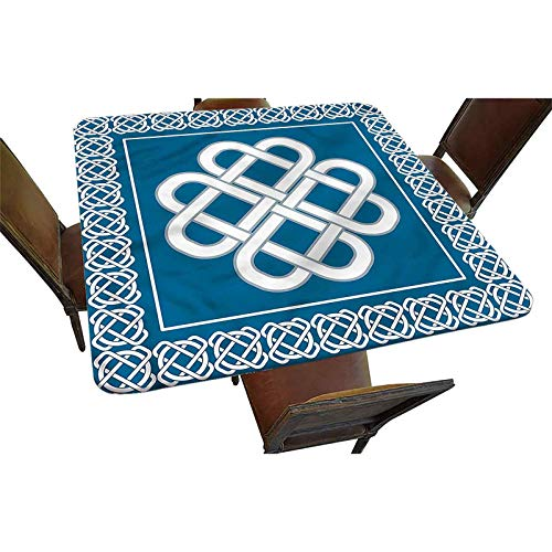 Decorative Elastic Edged Square Fitted Tablecloth,Celtic Love Knot Symbol Polyester Indoor Outdoor Fitted Tablecover for Folding Table Picnic Birthday Camping Garden Banquet Fit Square Table up to 24'