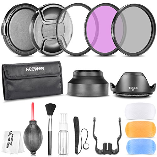 Neewer 58MM Accesorio Profesional Un kit para CANON EOS Rebel T3 T5i T4i T3i T2i T1i XT XTi XSi SL1 DSLR Camaras- Incluye: kit de filtros (UV, CPL, FLD) + + bolsa de transporte Limpieza y protección (tulipán y plegable) + Caps difusor de flash fijado + Lens (Pinch Center y con cierre a presión) + Cap Guardián correa + Kit de Limpieza Deluxe + Limpiador de Micro fibra