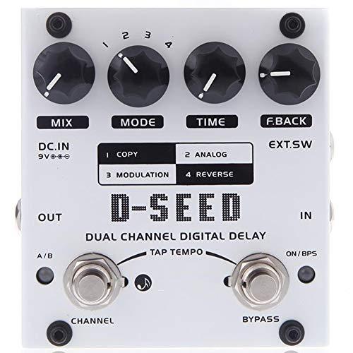 ZXCV Dual Delay Pedal de Efectos de Guitarra Digital de Canal con Cuatro Modos,Blanco