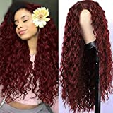 Ebingoo Burgundy Red Lace Front Wigs Wet and Wavy Lace Front Wigs Wine Red Curly Wig Glueless 99j Lace Front Wigs for Women 30 Inch for Daily Wear
