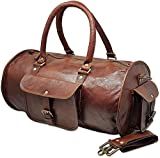 Jaald 18' Leather Duffle Bag Travel Carry-on Luggage overnight Gym weekender bag