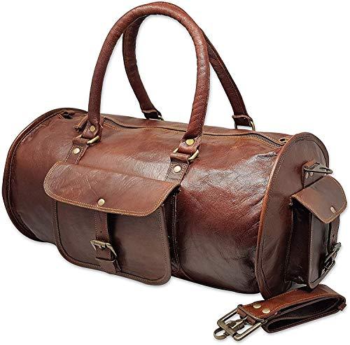 Jaald 45 Cm Borsone Bagaglio Tracolla da Viaggio Campeggio Sportiva Fitness Sport Carry on Palestra a Mano in Vera Pelle da Uomo Donna Regalo Vintage Valigia Borsa Leather duffel travel luggage bag