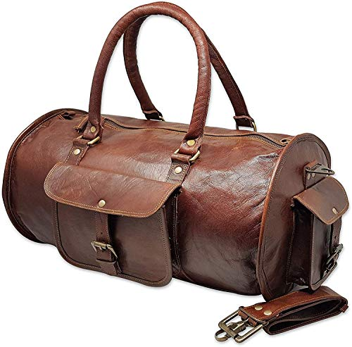 Jaald 50 cm echt lederen tas weekender bagage reistas bagage sporttas duffel tas weekendtrip handbagage duffel gym bag waterdicht draagtas voor mannen vrouwen cadeau