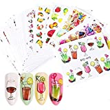 Valuu 58 Sheets Nail Art Stickers Water Transfer Nail Decals Summer Fruit Ice Cream Lipstick Series Design Manicure Tips,Nail Tips DIY Toenails Nail Art Decorations Accessories