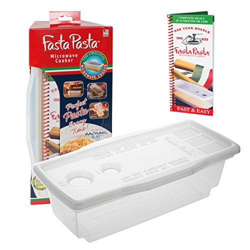 Microwave Pasta Cooker- Original Fasta Pasta w Spiral Cookbook- Quickly Cooks Up to 4 Servings- No Mess, Sticking or Waiting For Boil- Perfect Al Dente Pasta- For Dorms, Small Kitchens, or Offices