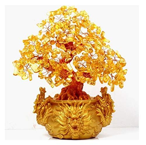 zxb-shop Luck and Wealth Crystal Tree Citrine Quartz Lucky Tree Crystal Gem Money Tree Ornaments Garden Healing Pavilion Decoration Home Decoration Bonsai Feng Shui Money Tree