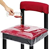 Plastic Chair Covers Waterproof - 2 Pack Clear Vinyl Dining Chair Protector Scratch Resistant with Adjustable Strap 17 x 19 inch for Dining Room Kitchen