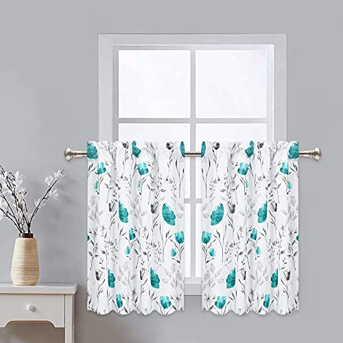 VERTKREA Tier Curtains, Teal Flower Watercolor Kitchen Curtains, Teal Gray Floral Rod Pocket Window Treatment Tier Pair for Kitchen Bathroom RV Basement Laundry, Set 2, 26 Inch Wide 24 Inch Long