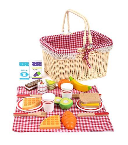 Small Foot 11186 Picknickkorb Früchstück, aus Holz, Rollenspiele/Kinderküchen-Zubehör, 27-teilig, ab 3 Jahre Spielzeug, Mehrfarbig
