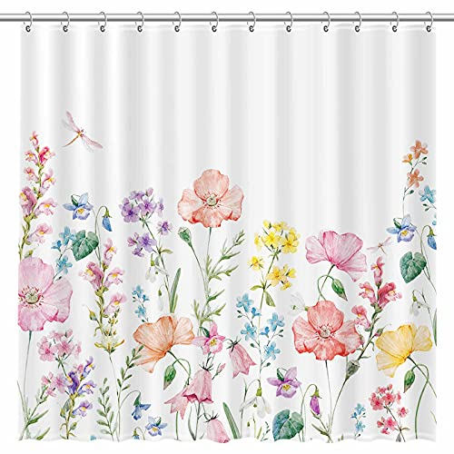 Allenjoy 72x72 inch Plant Floral Flower Watercolor Shower Curtain for Bathroom Botanical Bohemian Boho Style Durable Waterproof Machine Washable Home Bathtub Decor Curtains Sets with 12 Hooks