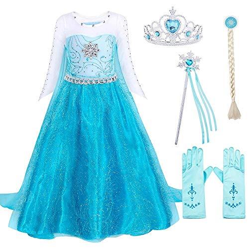 RIFENIK Abito Principessa Frozen, Multi Accessori, Tessuti Anallergico Abito o Vestito per Feste, Compleanni, Cerimonie, Halloween e Carnevale (120)