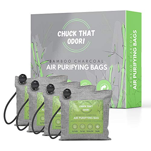 Charcoal air purifying bagsChuck That Odor Bamboo Charcoal Air Purifying Bags, Nature Fresh Charcoal Bags Odor Absorber, Activated Charcoal Air Purifiers, 4Pack x 200g Deodorizer & Moisture Absorbers with 4 Ball Bungee Cords