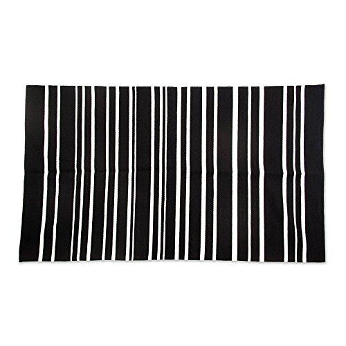 NOVICA et blanc tapis de laine (3.5x5.5), Foyer péruvien Noir et blanc