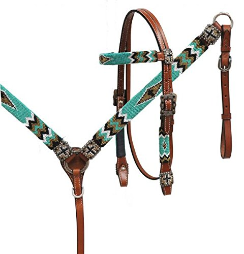 Showman Leather Headstall and Breast Collar Set with Teal, Gold & Black Beaded Overlay w Cross