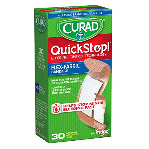 Curad Quickstop Instant Clotting Technology FlexFabric Bandages Assorted Size 30 Count
