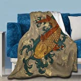 NIUJINMALI Japanese Decor Oriental Pattern Koi Fish Throw Fleece Blanket Flannel Ultra Soft Lightweight Microfiber Luxury Air Conditioner Quilt for Sofa Bedroom Office Travel All Season L 80'X60'
