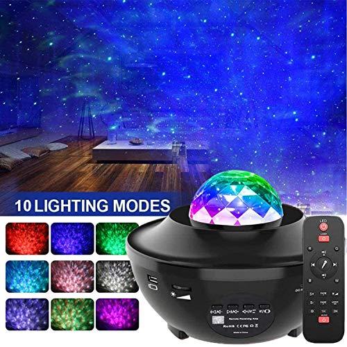LED Sternenhimmel Projektor, Amouhom Ozeanwellen Projektor mit Fernbedienung/Bluetooth 5.0/360°Drehen /3 Helligkeitsstufen Beste Geschenke für Party Weihnachten Ostern(Schwarz)