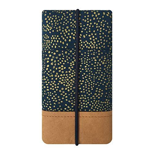 Kuratist Handytasche – Handgemacht – Kompatibel mit iPhone 11 Pro/X/XS, Galaxy S10/S9/S8/S7/S6/A5/A40, Huawei P30/P20/P20 Pro - Premium Baumwolle und Papier - 100% Tier frei (Champagne Night)